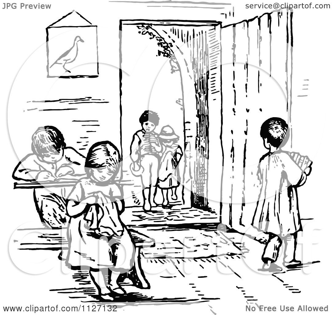 Clipart Of Retro Vintage Black And White Children In A School Room.