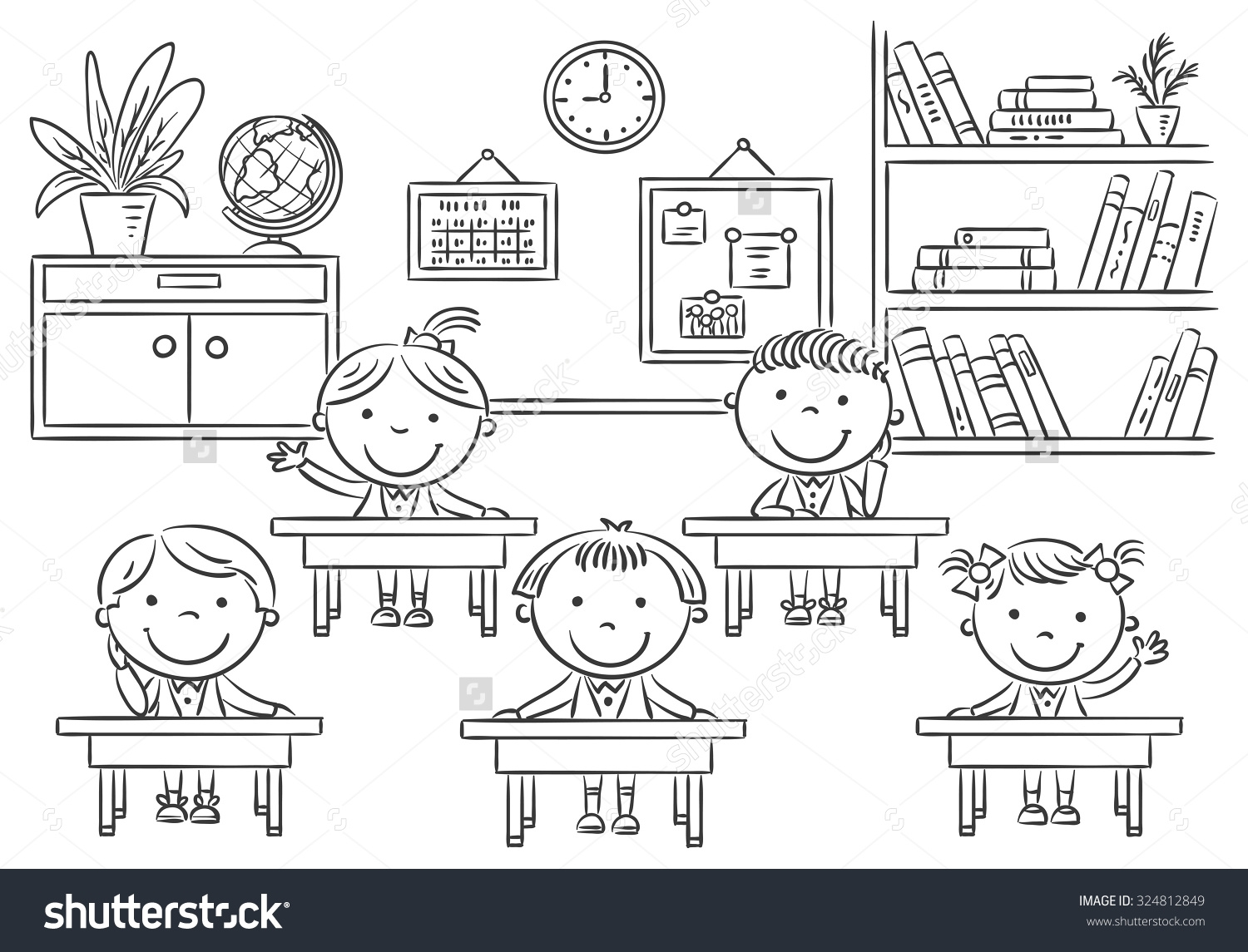 Student Clipart Black And White: School Room Clipart Black And White