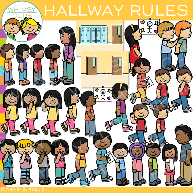 School Hallway Rules Clip Art.