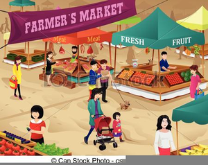 Market Scene Clipart.