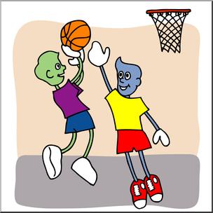 Clip Art: Cartoon School Scene: Sports: Basketball 01 Color.