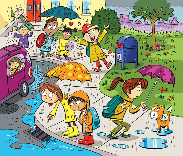 Can you spot the 6 words hidden in this rainy school scene.