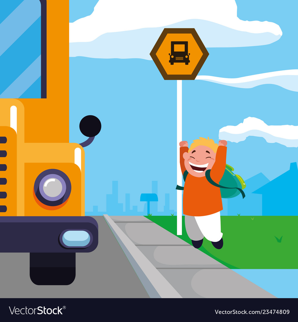 Happy student boy in the school bus stop scene.