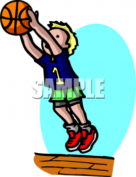 School Sports Clipart Picture of a Basketball Player.