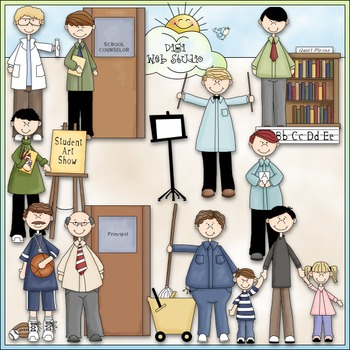 School Staff (Men) Clip Art.