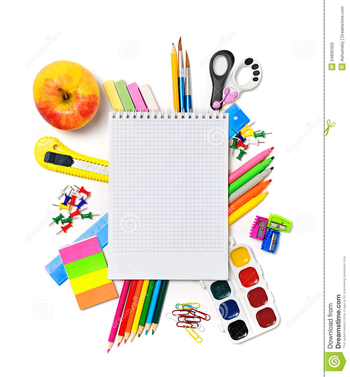 School Stationery Clipart.
