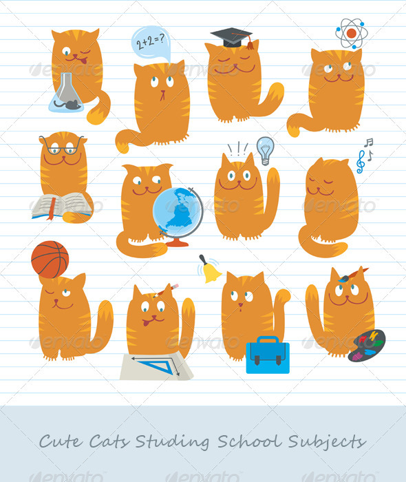 Cute Cats Studing School Subjects.