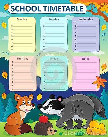 Weekly School Timetable Subject 7 Stock Vector.
