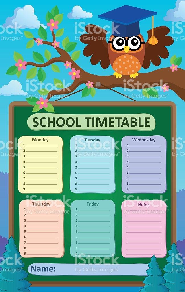 Weekly School Timetable Subject 5 stock vector art 628325290.