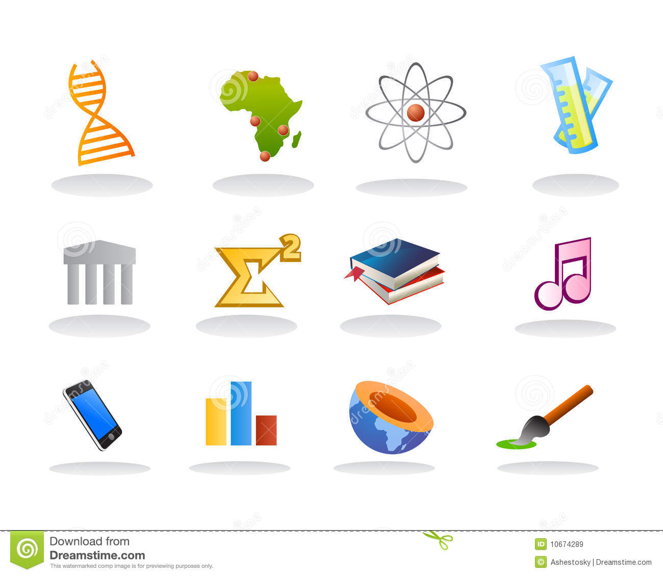 School Subject Icons Royalty Free Stock Images.