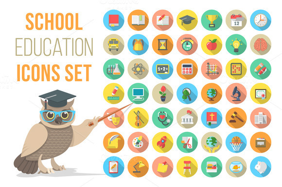Vector Flat Round School Subjects Icons on Behance.