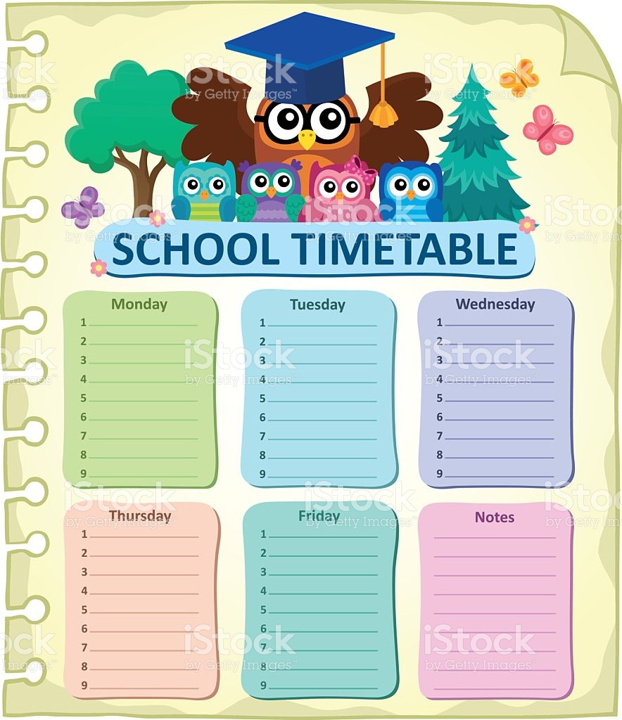 Weekly School Timetable Subject 7 stock vector art 637407880.