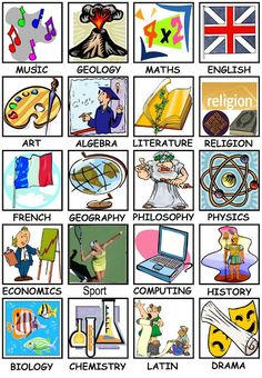 free school subjects clip art.