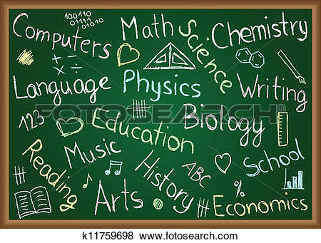 Clip Art of School subjects and doodles on chalkboard k11759698.