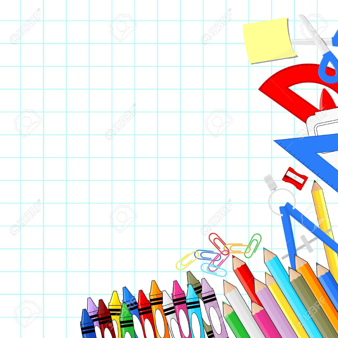 School Supplies On White Grid Paper Background, Individual Objects.