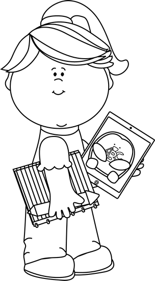 Black and White Girl with School Supplies and Tablet Clip Art.