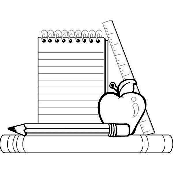 Compele School Supplies for Going Back to School Coloring Page.