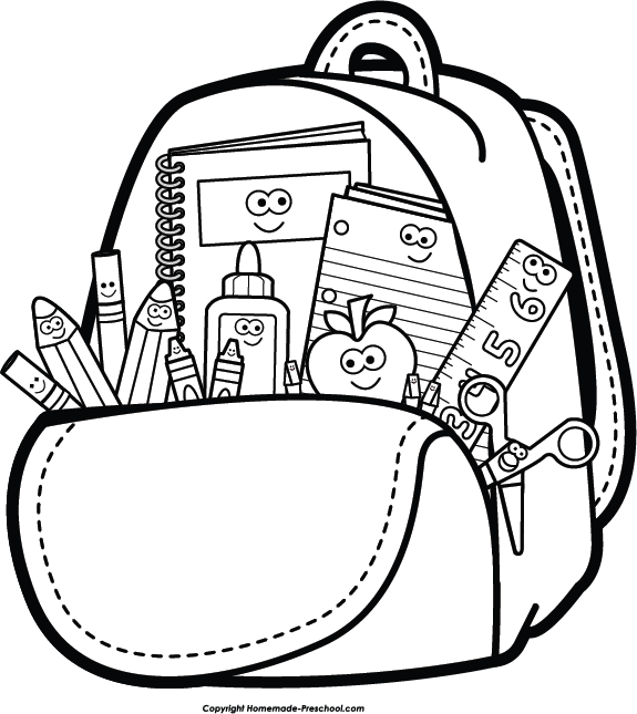 Clipart School Supplies Black And White.