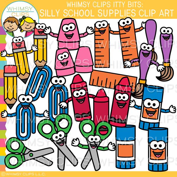 Silly School Supplies Clip Art.