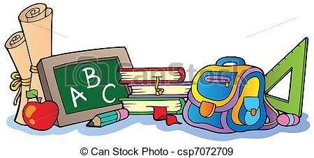 Clipart images of school supplies.