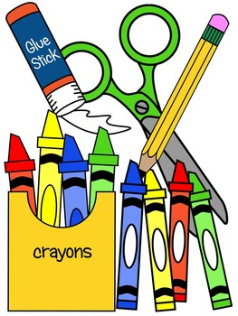 SCHOOL SUPPLIES CLIP ART * COLOR AND BLACK AND WHITE.