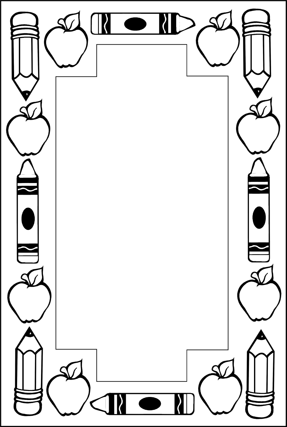 School Supplies Clipart Black And White Borders.