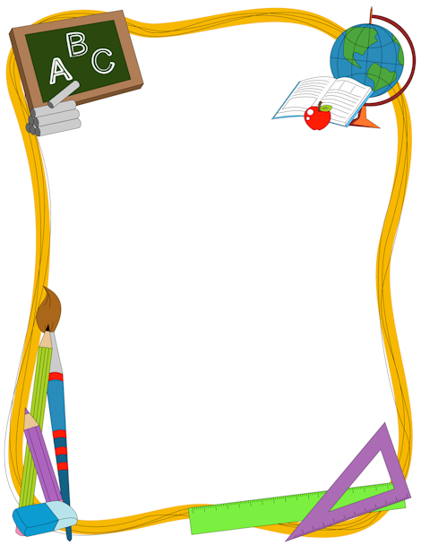 Clipart School Supplies Border.