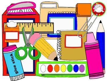 School supplies clipart image.