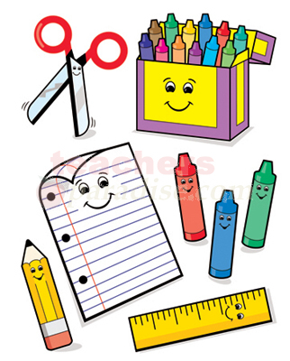 School Supplies For English Class Clipart.