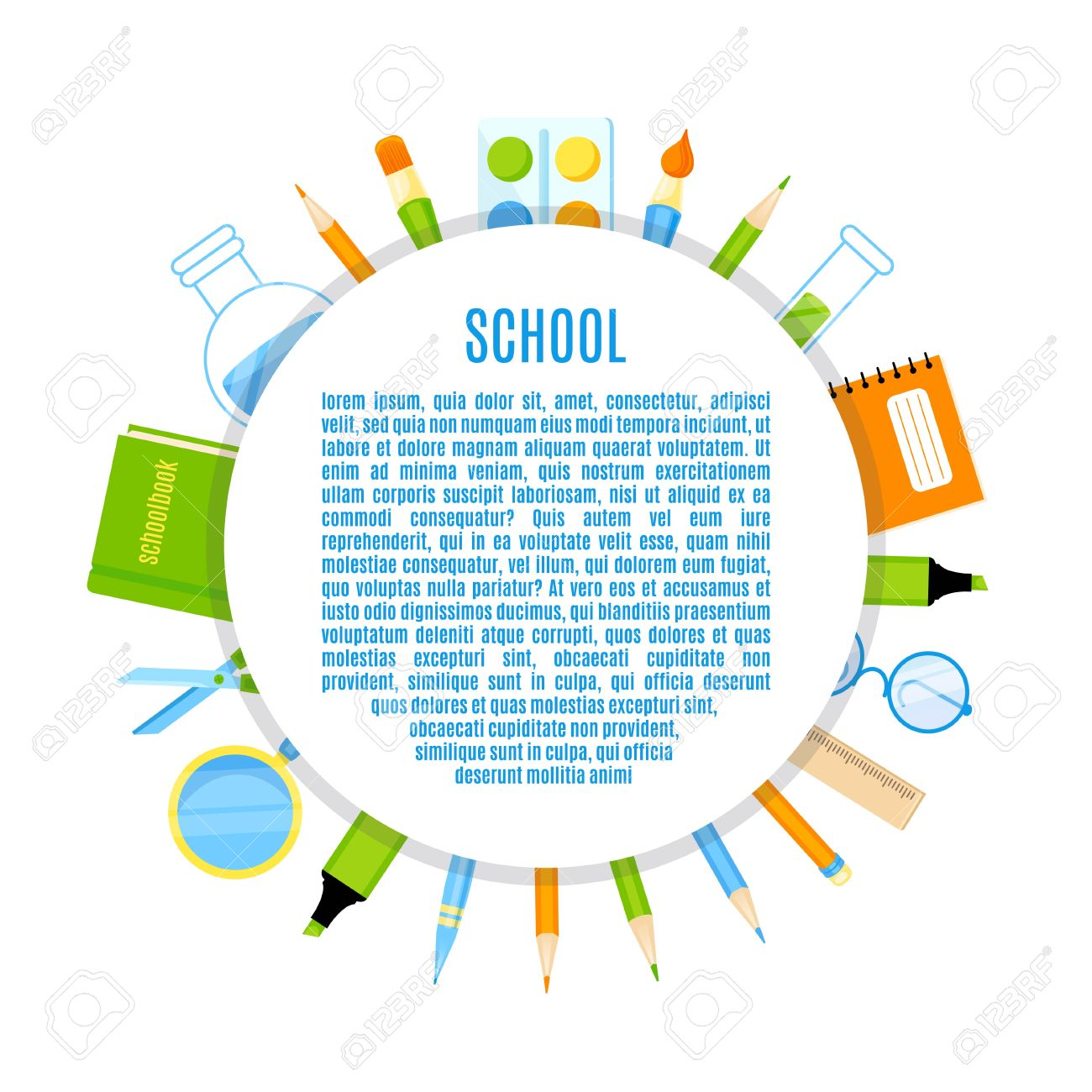 School Circle With School Supplies Vector Design. School.
