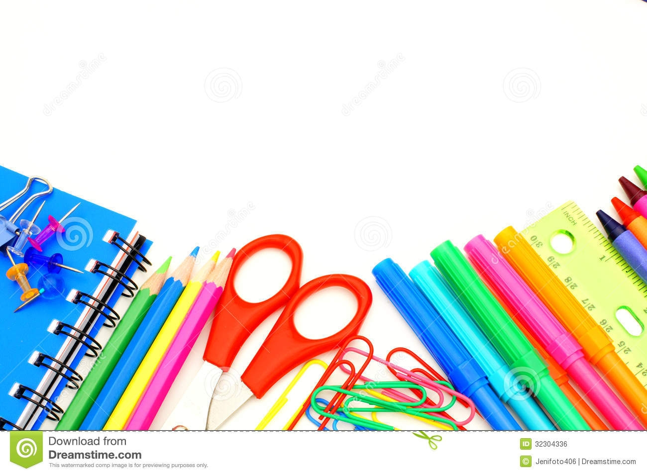 School Supply Border Clipart.