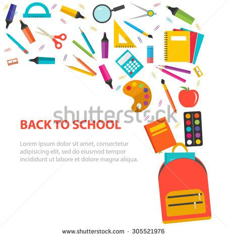 School Supply Circle Border Clipart.