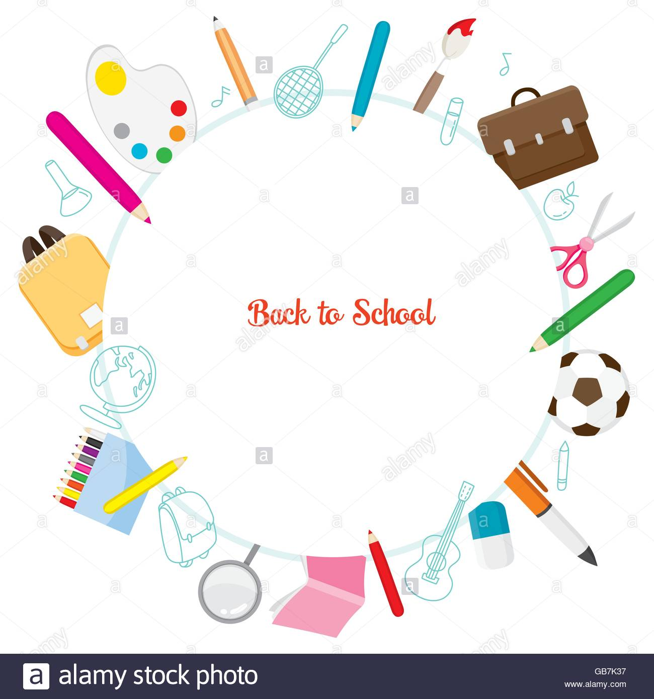 School Supplies Icons On Circle Frame, Back to school, Educational.