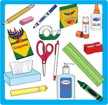 School Supplies Clipart Bundle.