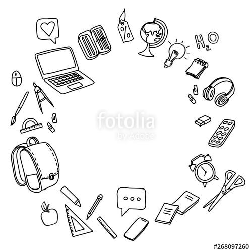 School clipart Vector doodle school icons symbols\