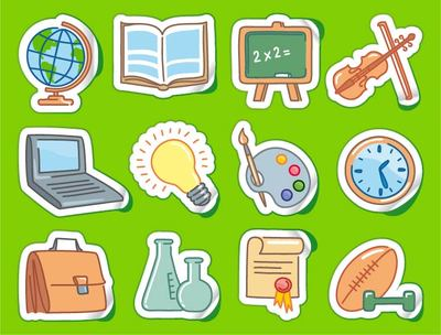 Free Sticker Set with Funky School Themed Icons Clipart and.