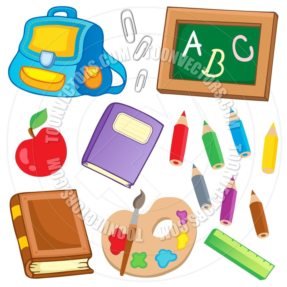 Image result for picture of school things clipart.