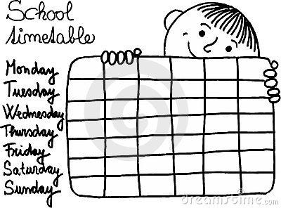 School Timetable Theme 7 Stock.