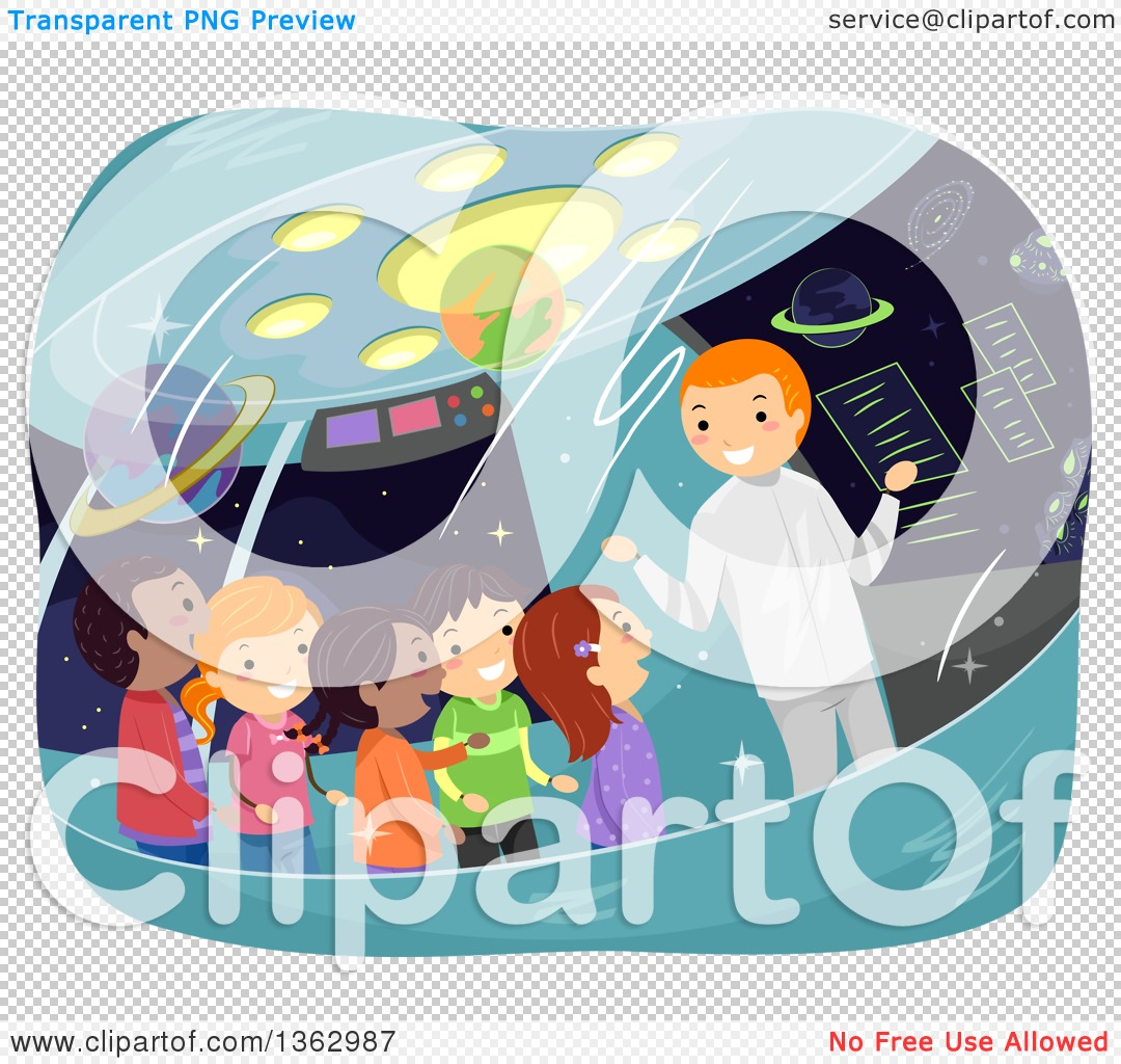 Clipart of a Man Giving a Tour to School Children on a Space Ship.