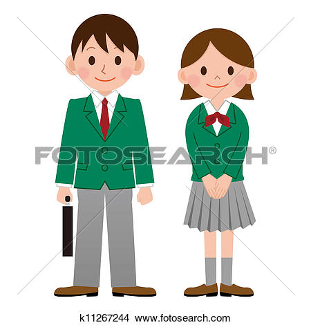 Clip Art of A student wearing school uniform k19467792.