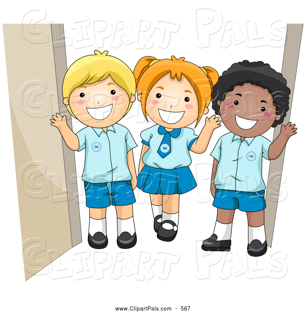Child in school uniform clipart.