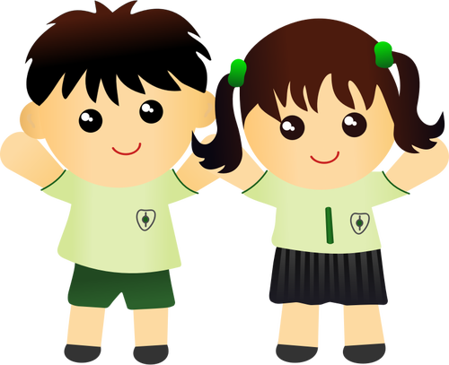 Boy and girl in school uniform vector drawing.