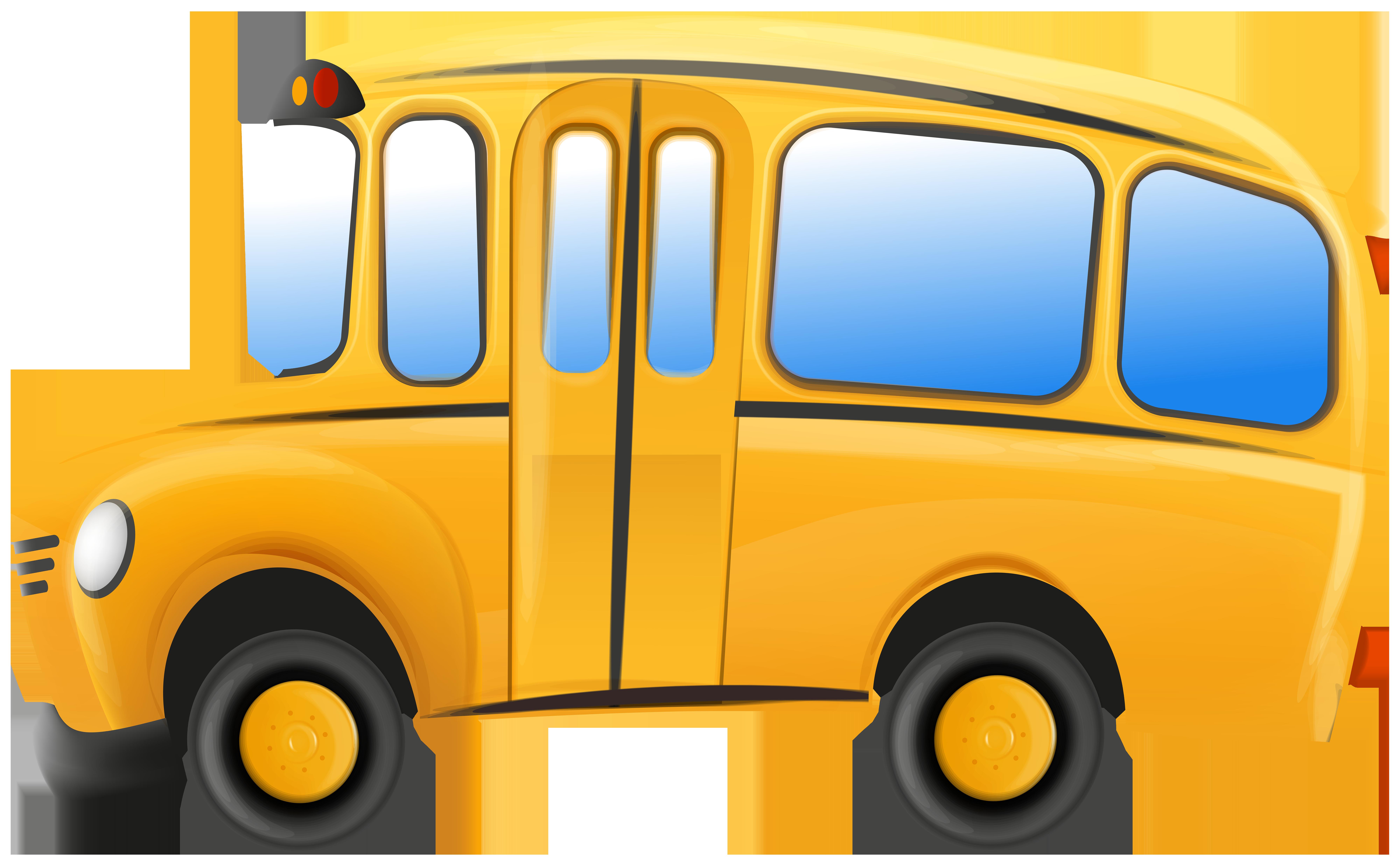 School Bus Transparent Clip Art Image.
