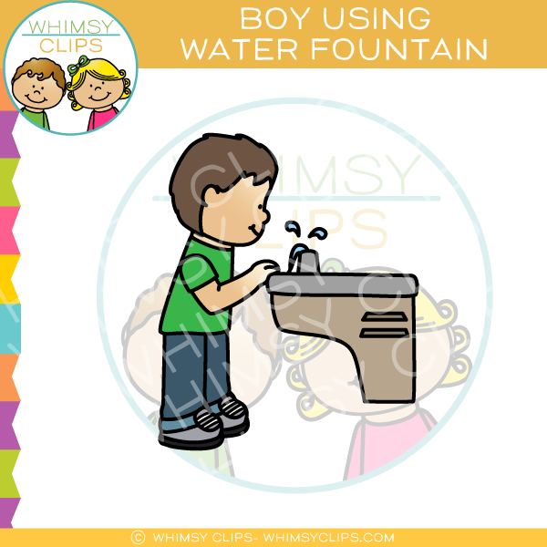 Boy Drinking from Water Fountain Clip Art.