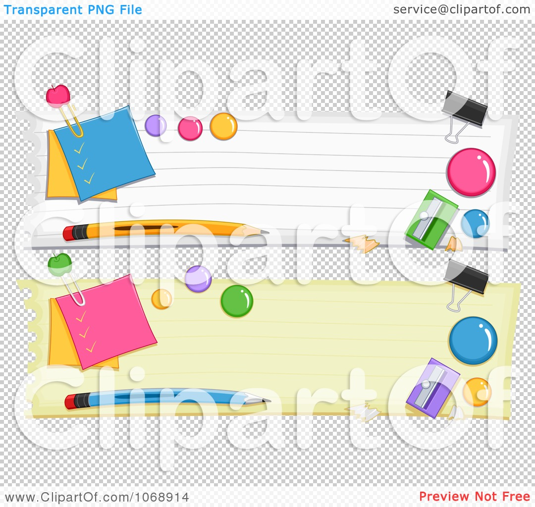 Clipart School Items Website Banners.