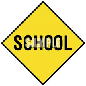 School Zone Caution Road Sign.