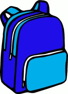 Blue school bag clipart.