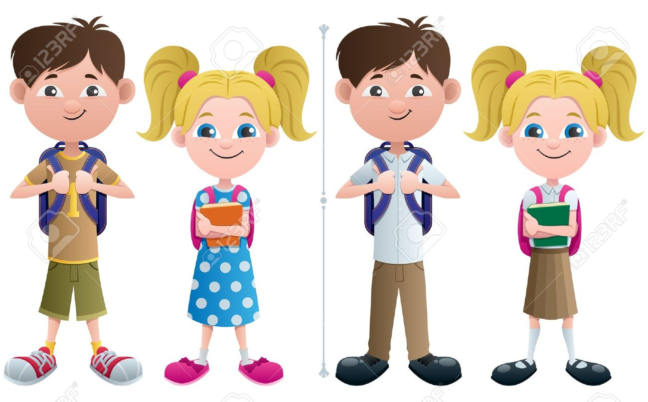 Vector Illustration Of Schoolboy And Schoolgirl In 2 Versions.