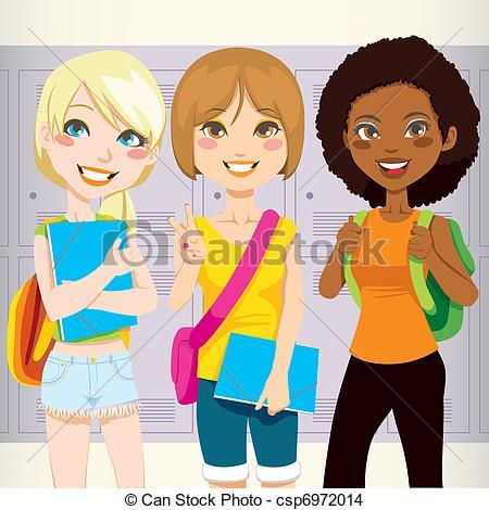 Teenage Girl Friends Clipart.