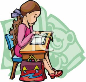 School Clipart of a Girl Reading at Her Desk.